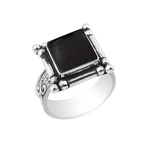 Square Onyx Ring - 5.40ctw,Genuine Black Onyx 10x10mm Square & .925 Silver Plated Handmade Fashion Ring (Size-10)