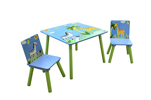 Liberty House Toys Safari Table & 2 Chairs Set, Wood, Multi-Color, 60 x 60 x 44 cm