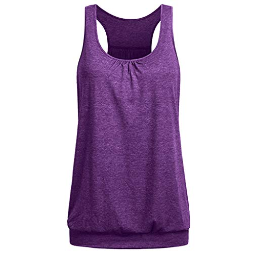 (YOcheerful Women's Tops Sleeveless Round Neck Wrinkled Loose Fit Racerback Workout Tank Tops Basic Vests(Purple,)