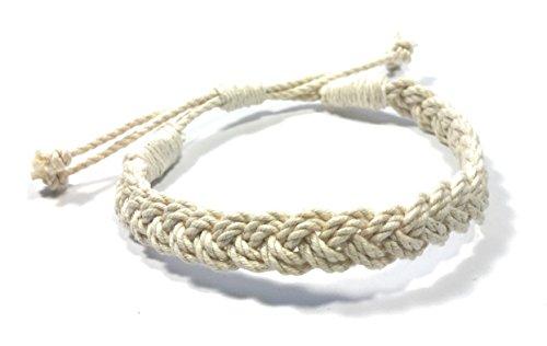 (Adjustable Woven Sailor Knot Bracelet - Natural White )