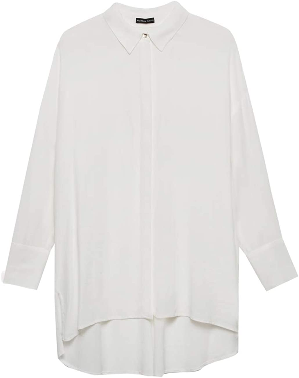 Camicia Lunga Tinta Unita Fiorella Rubino Italian Plus Size