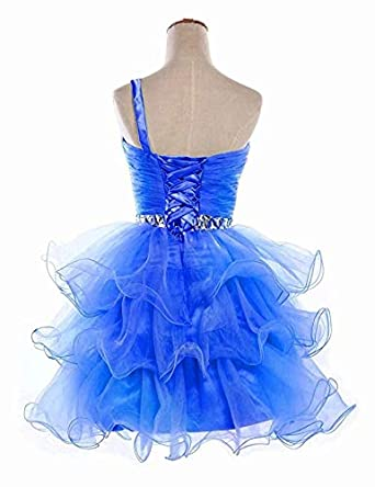 Lilibridal Short Prom Dresses Beaded Puffy One Shoulder Homecoming Pageant Fomal Evening Ball Gowns 083/…