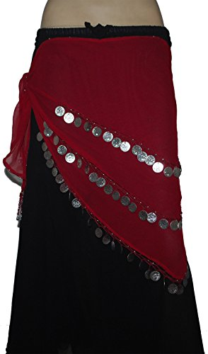 Wevez 3 Rows Belly Dance Costume Silver Coin Hip Scarf (Red Silver Hip Scarf)