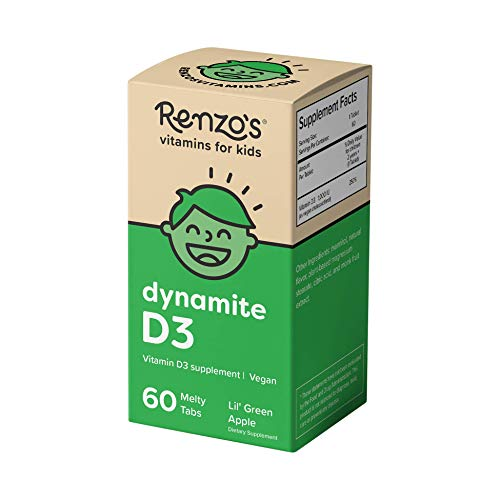 Renzo's Dynamite D3, Dissolvable Vegan Vitamins for Kids, Zero Sugar, Lil' Green Apple Flavor, 60 Melty Tabs