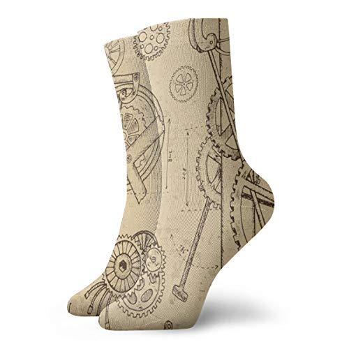 Mens Womens Crew Socks Retro Machine Steampunk Clocks Athletic Socks Personalized Anti Bacterial Odor Cushion Short Boot Stocking