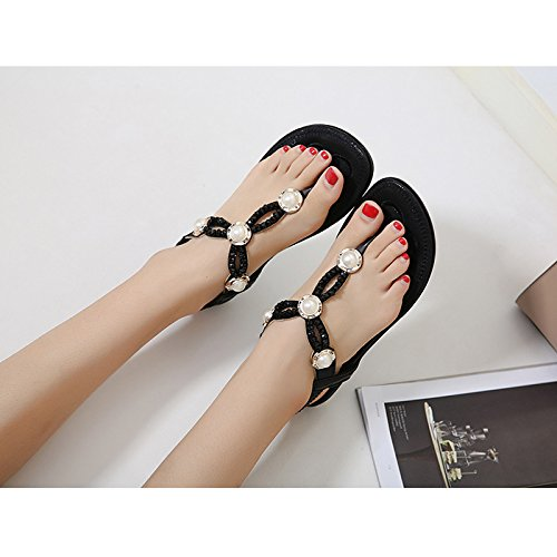 Bohemian Summer DolphinBanana Black Shoes Glossy Thongs Sandals Glitter Prime Flat Flop Flip dxfUf