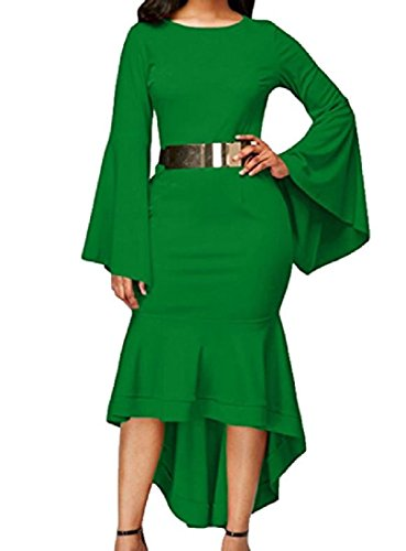 Tunic Sleeve Evening Cocktail Bodycon Green Bell Women Pencil Coolred S Dress Htq5wAq
