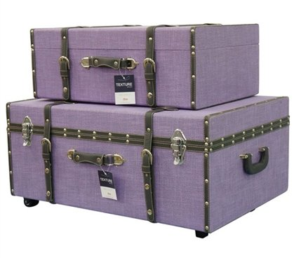 Lavender texture collegiate trunks set of 2 accent for Furniture xo out of business