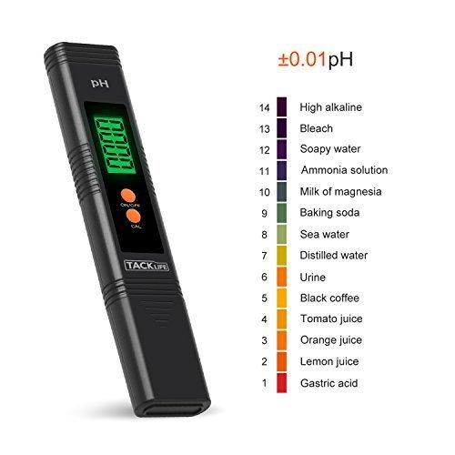 Tacklife PM01 PH Metro Digital Medidor Portátil de pH pHmetro 0 - 14 pH para agua y líquidos auto-calibrazione y compensación automática Temperatura ...
