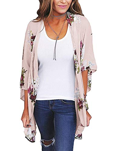 Chunoy Women Floral Kimono Loose Short Sleeve Shawl Chiffon Casual Coat Pink Medium