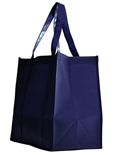 100 Pack Heavy Duty Grocery Tote Bag, Navy Blue Large & Super Strong, Reusable Shopping Bags with Stand-up PL Bottom, Non-Woven Convention Tote Bags, Premium Quality (Set of 100 (1BOX), Navy Blue)