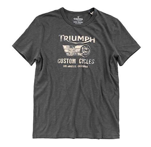 Triumph Motorcycle Shirt - Lucky Brand Men's Faded Black Triumph Custom Cycles LA, California Tee (Small)