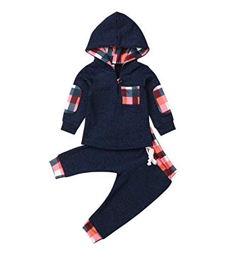 Toddler Infant Baby Boys Dinosaur Long Sleeve Hoodie Tops Sweatsuit Pants Outfit Set (0-6 Months, Style 5 Blue)