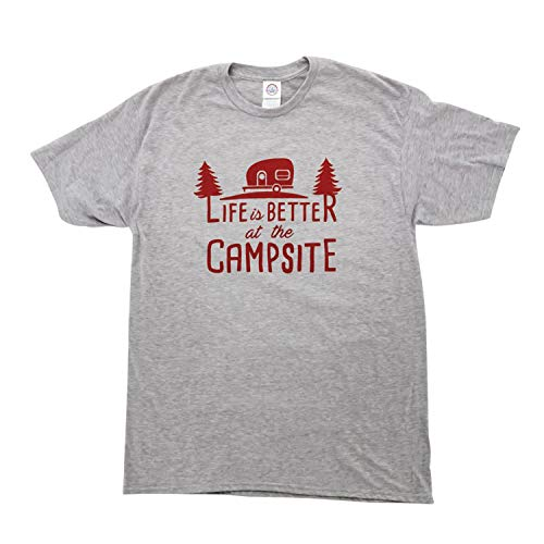 Camco 53211 Gray XX-Large Short Sleeve Crew Neck T-Shirt (Life Is Better At the Campsite Graphic - Comfortable Cotton Blend)