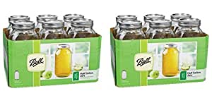Ball Wide Mouth Half Gallon 64 Oz Jars with Lids and Bands Set of 6 (Pack of 2) Brand New and Fast Shipping