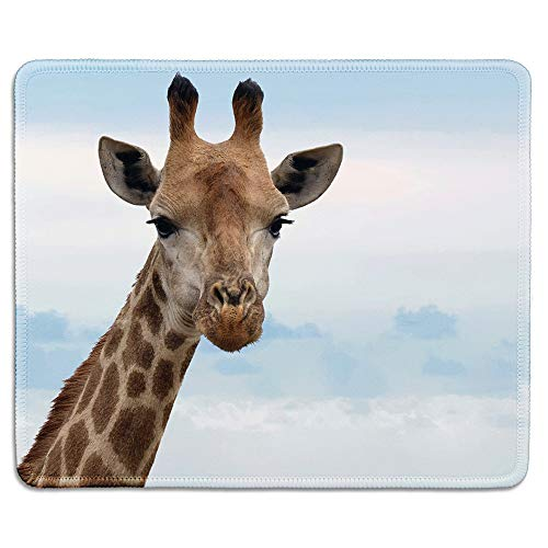 dealzEpic - Wild Animal Art Mousepad - Natural Rubber Mouse Pad Printed with Close up of a Graceful Giraffe - Stitched Edges - 9.5x7.9 inches
