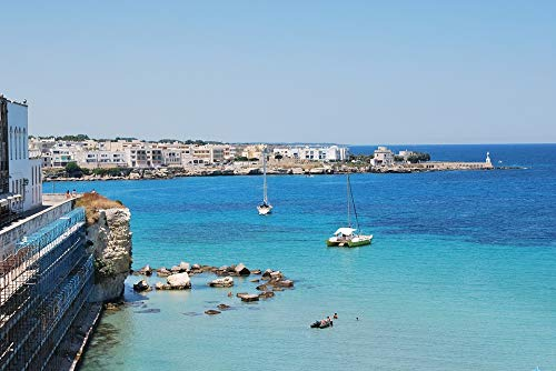 Home Comforts Peel-n-Stick Poster of Sea Landscape Puglia Salento Gallipoli Italy Pier Vivid Imagery Poster 24 x 16 Adhesive Sticker Poster Print