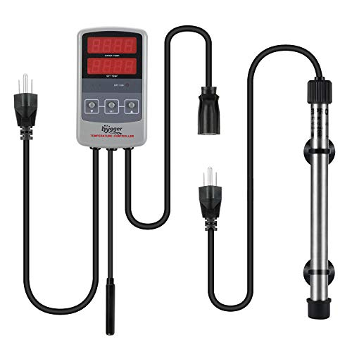 Hygger Titanium Tube Submersible Pinpoint Aquarium Heater with Digital Thermostat,IC Temp Controller (500w) (Titanium Professional Heater)