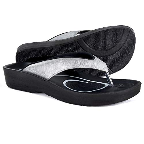 AEROTHOTIC Original Orthotic Comfort Thong Sandal and Flip Flops with Arch Support for Comfortable Walk (US Women 6, Matt Silver)
