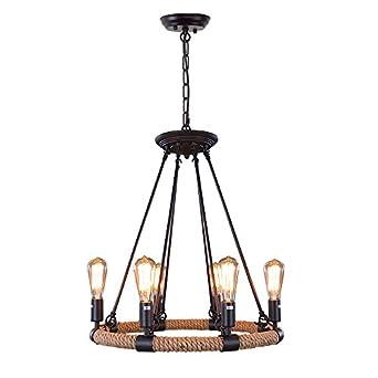 LNC Rustic Rope Chandeliers 6 Light Pendant Lighting