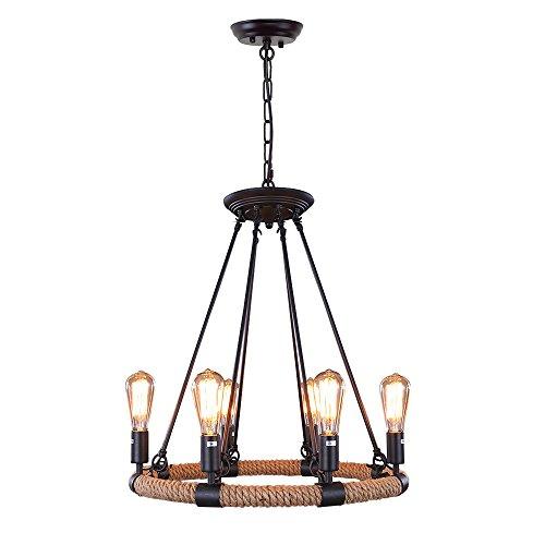 LNC Rustic Rope Chandeliers, 6-light Pendant Lighting for Ki