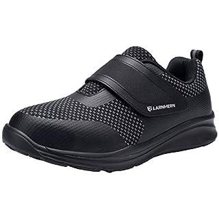 LARNMERN Men's Steel Toe Work Shoes,Knit Breathable Lightweight Safety Shoes with Hook & Loop (Black/Black, 10 Women/8 Men)