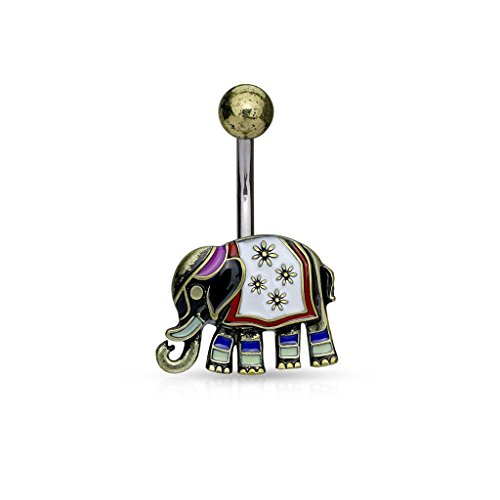 Amelia Fashion 14GA Enamel Colored Elephant Belly Button / Navel Ring 316L Surgical Steel (CHOOSE COLOR) (Antique Gold)