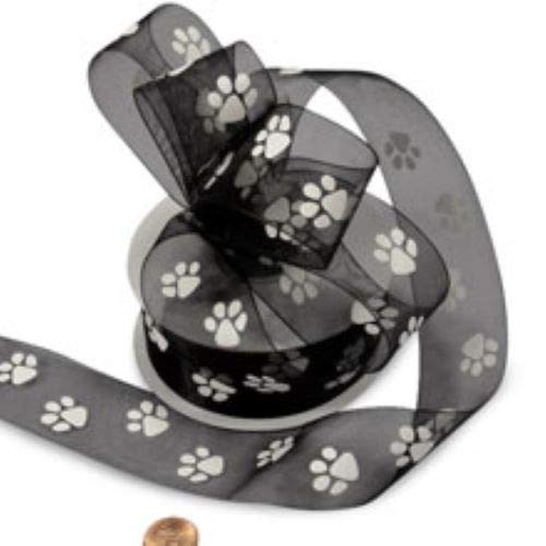 Black Sheer Paw Prints Ribbon, 1-1/2