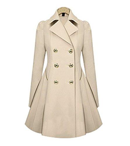 HN Women Elegant Long Trench Coat Jacket HN Double ...
