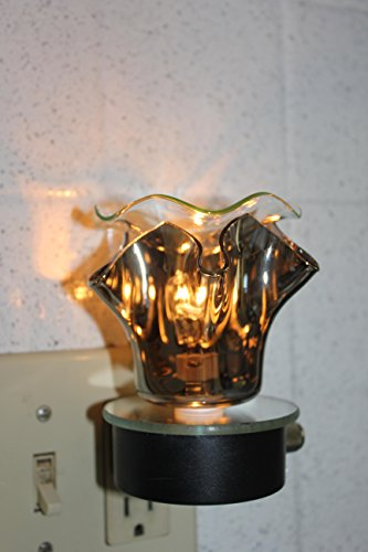Navillus - Plug In Aroma Lamp night Light - Flower shape, oil warmer with dimmer in Pewter color, and slick see through when on (Pewter Dimmer)