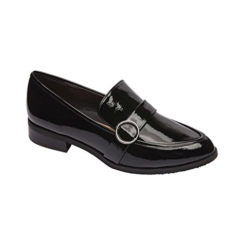 Pic & Pay KACI | Modern Slip On Vegan Patent Buckle Loafer Flat Comfortable Insole Padded Arch Support Black Vegan Wrinkle Patent 10M