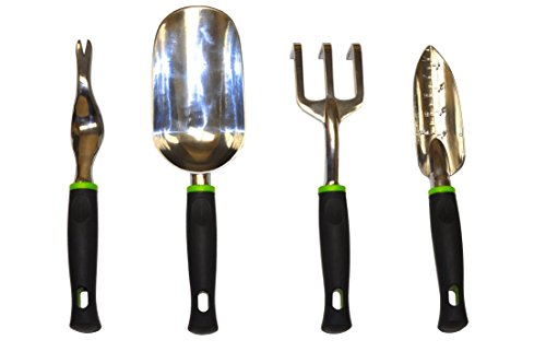 (G & F 10016 Heavy Duty Aluminum Cast Garden Tools Set with Soft Grip handle, Trowel, Cultivator/Rake, Weedier and a Jumbo Size TROWEL (4)