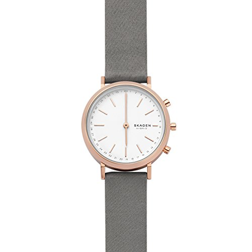 Skagen Women's 'Hald Rose Gold-Tone Hybrid Smartwatch' Quartz Stainless Steel and Satin Smart Watch, Color Grey (Model: SKT1406)