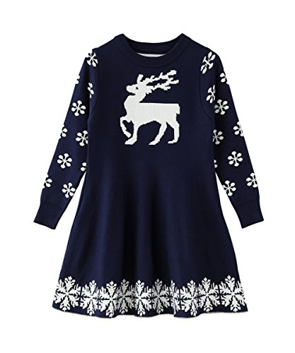 SMILING PINKER Little Girls Christmas Dress Reindeer Snowflake Xmas Gifts Winter Knit Sweater Dresses (4-5T, Navy Blue)
