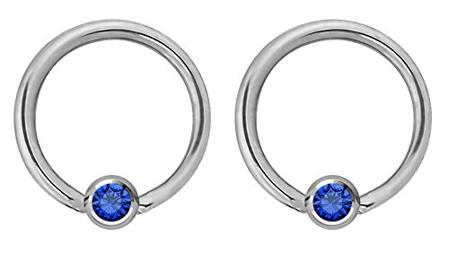 Pair of 14g 12mm Every-Day Surgical Steel Blue Jeweled Captive Bead Ring Body Piercing Hoops