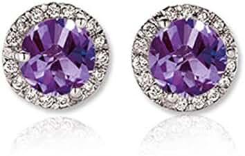 14K White Gold Ladies Halo Style Stud Earrings