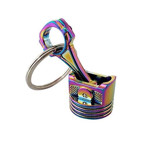 Ispeedytech Creative New Charming auto Part Rainbow Engine Piston Connecting Rod Metal Pendant Alloy Keychain Key Chain Ring Keyring Keyfob Colorful