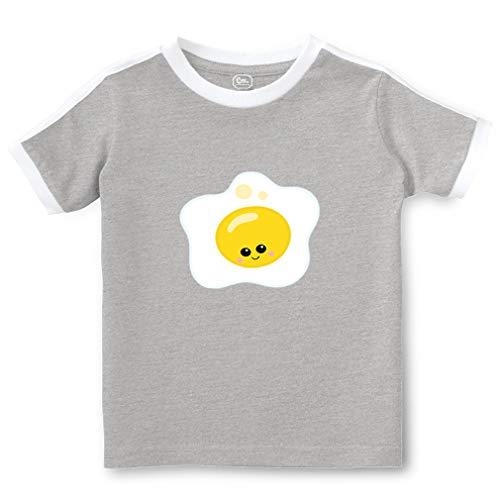 Sunny Up Eggs Short Sleeve Crewneck Boys-Girls Toddler Cotton Soccer T-Shirt Sports Jersey - Oxford Gray, 2T ()