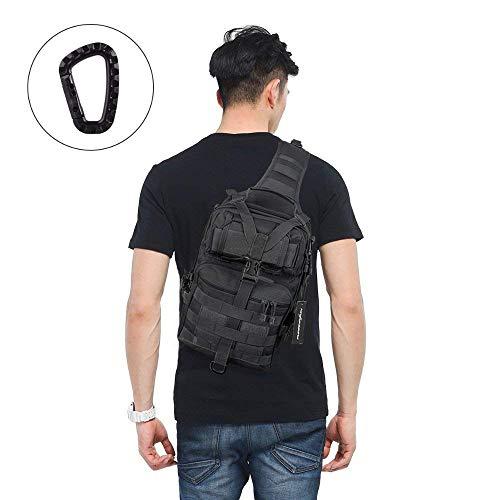 FUNANASUN Tactical Sling Backpack Bag Military Molle Assault Pack Rucksack Daypack for Outdoors Camping Hiking Hunting (Black 2)