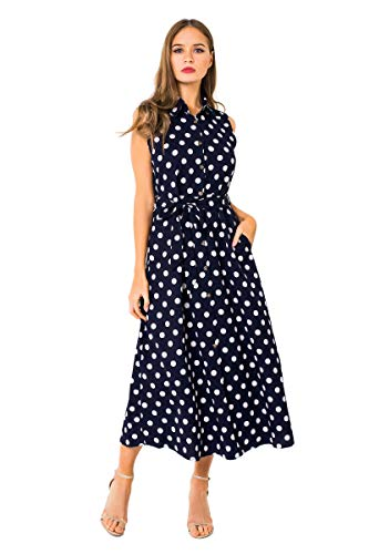 - 41XO5BcZ3SL - Alice CO Women's Vintage Lapel Collar Polka Dot Button Pockets Casual Work Shirt Dress with Belt