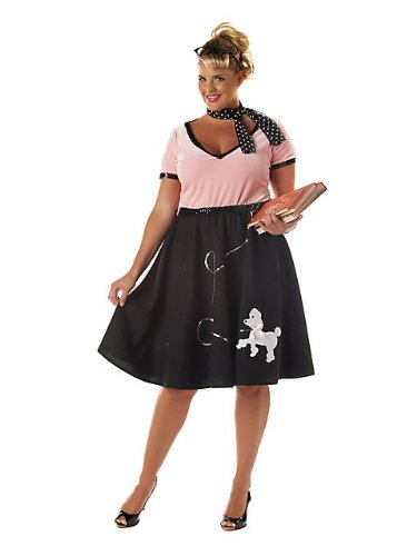 [California Costumes Women's Plus-Size 50's Sweetheart Plus, Pink/Black, 3X] (50s Costumes Women)