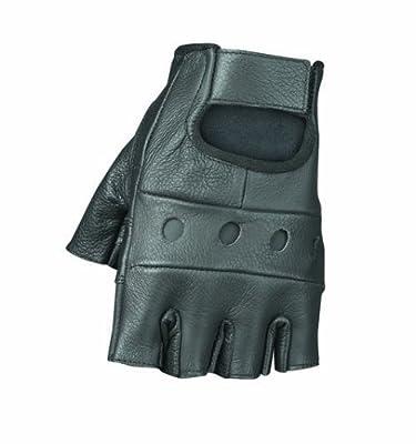 Raider Black Leather Fingerless Gloves