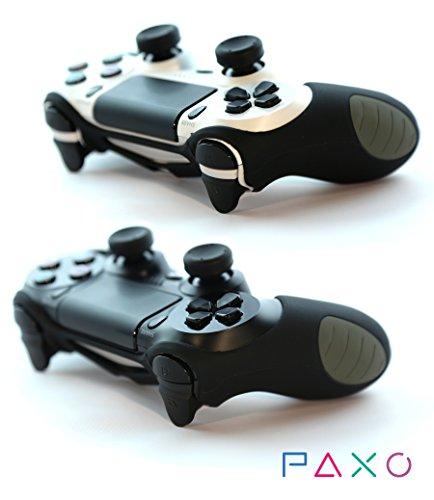 2 x PAXO Silikon Schutzhülle schwarz / Sleeve + 4 Analog Cups Silikon Aufsätze / Thumb Grips für PS4 Controller - Bundle