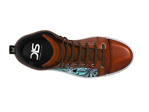 DIS - Gianmarco - Sneakers Alta - Unisex, Fantasia Terra La tua sneaker alta in pelle dipinta a mano fantasia terra, 100% made in Italy e personalizzabile