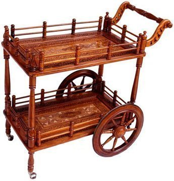 Aarsun Woods Handmade Wooden Service | Bar Trolley | Service Trolley | Kitchen Trolley