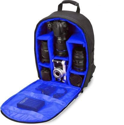 Ketsaal Shoulder Backpack to Carry DSLR SLR Lens Camera Bag (Blue, Black 15.5 * 12 Inches)