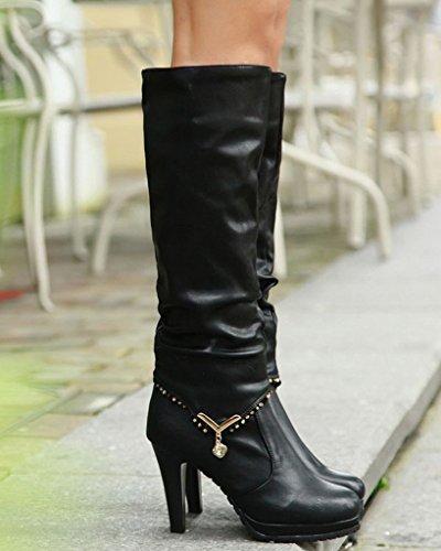 Longue Portant Bottes 2 Des Style Talon Femme Noir Haut Bottines Ow5Txqz7w
