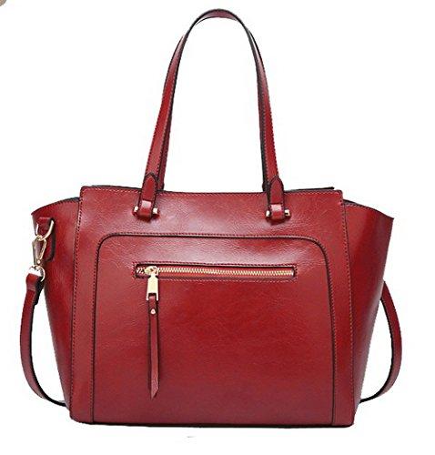 Rouge AgooLar Femme fourre à GMBAB181638 Sacs Zippers Fête tout Sacs bandoulière Tourisme Noir U7HqT