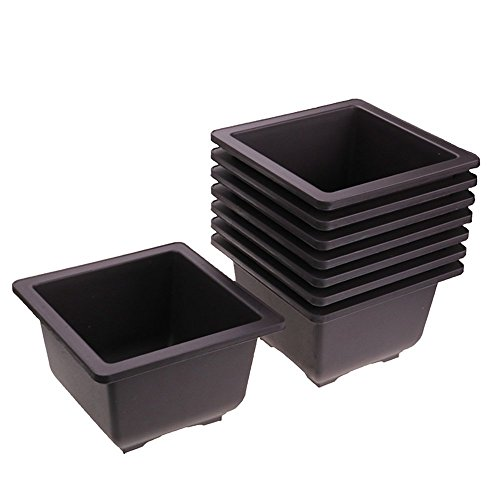 (MUZHI 8PCS-Pack Hot Sale RetroStyle Garden Flower Pot Balcony Square Bonsai Planters Starters Nursery Pots Plastic Maceta Cuadrada)