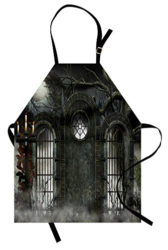 Lunarable Horror House Apron, Moon Halloween Ancient Historical Gate Gothic Background Candles Fiction View Print, Unisex Kitchen Bib Apron with Adjustable Neck for Cooking Baking Gardening, Gray]()